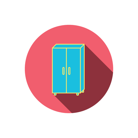 circle icon: Cupboard icon. Wardrobe furniture sign. Red flat circle button. Linear icon with shadow. Vector