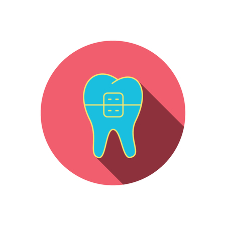 dental braces: Dental braces icon. Tooth healthcare sign. Orthodontic symbol. Red flat circle button. Linear icon with shadow. Vector