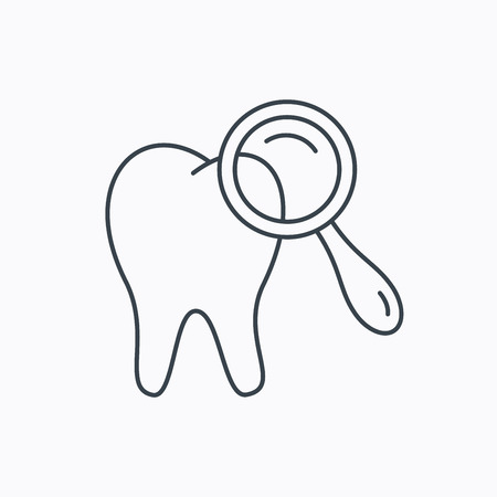 diagnostic: Dental diagnostic icon. Tooth hygiene sign. Linear outline icon on white background. Vector Illustration