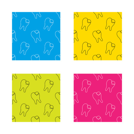 fillings: Dental fillings icon. Tooth restoration sign. Textures with icon. Seamless patterns set. Vector