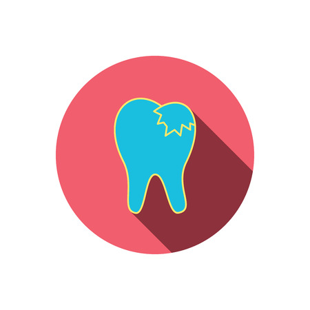 restoration: Dental fillings icon. Tooth restoration sign. Red flat circle button. Linear icon with shadow. Vector