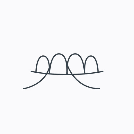 halitosis: Dental floss icon. Teeth cleaning sign. Oral hygiene symbol. Linear outline icon on white background. Vector Illustration