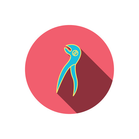 stomatological: Dental pliers icon. Stomatological forceps tool sign. Red flat circle button. Linear icon with shadow. Vector