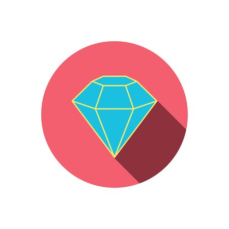 gemstone: Diamond icon. Brilliant gemstone sign. Red flat circle button. Linear icon with shadow. Vector