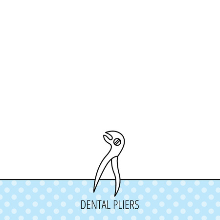 stomatological: Dental pliers icon. Stomatological forceps tool sign. Circles seamless pattern. Background with icon. Vector Illustration