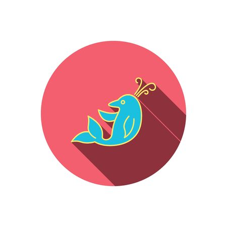 pink dolphin: Dolphin icon. Cetacean mammal sign. Delphinidae with fountain symbol. Red flat circle button. Linear icon with shadow. Vector Illustration