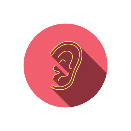 otorhinolaryngology: Ear icon. Hear or listen sign. Deaf human symbol. Red flat circle button. Linear icon with shadow. Vector Illustration