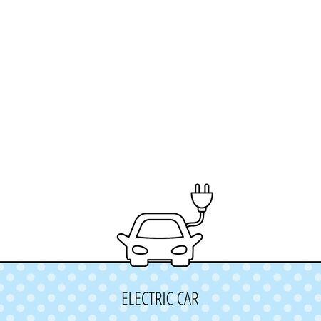 hybrid: Electric car icon. Hybrid auto transport sign. Circles seamless pattern. Background with icon. Vector Illustration