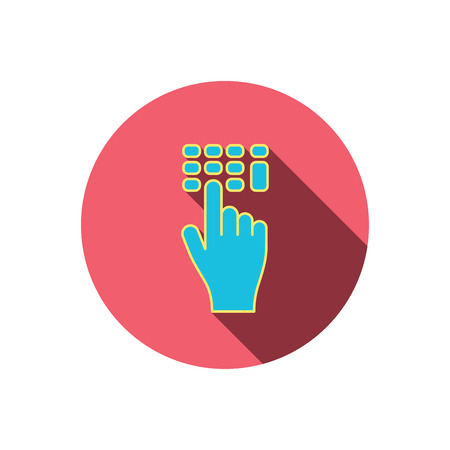 pin code: Enter pin code icon. Click hand pointer sign. Red flat circle button. Linear icon with shadow. Vector