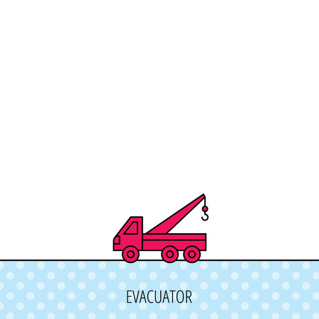 evacuate: Evacuator icon. Evacuate parking transport sign. Circles seamless pattern. Background with red icon. Vector Illustration