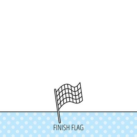 winning location: Finish flag icon. Start race sign. Circles seamless pattern. Background with icon. Vector Illustration