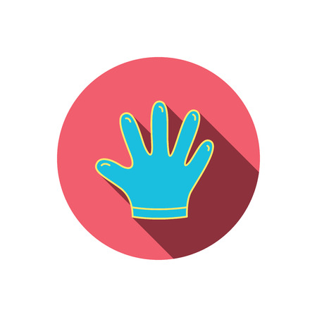 rubber gloves: Rubber gloves icon. Latex hand protection sign. Housework cleaning equipment symbol. Red flat circle button. Linear icon with shadow. Vector