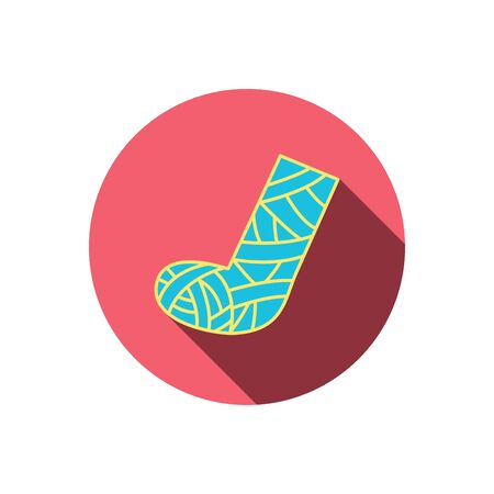 cast: Gypsum or cast foot icon. Broken leg sign. Human recovery medicine symbol. Red flat circle button. Linear icon with shadow. Vector Illustration