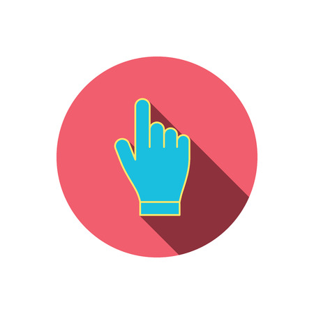 click hand: Click hand icon. Press or push pointer sign. Red flat circle button. Linear icon with shadow. Vector