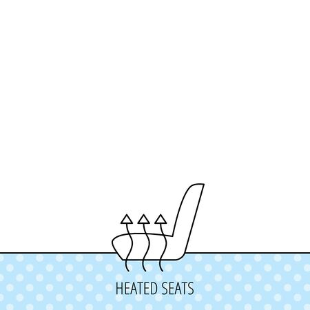 heated: Heated seat icon. Warm autoarmchair sign. Circles seamless pattern. Background with icon. Vector Illustration