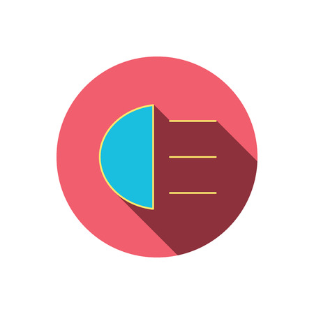 distant: High beams icon. Distant light car sign. Red flat circle button. Linear icon with shadow. Vector Illustration