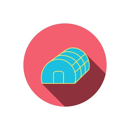 warm house: Greenhouse complex icon. Hothouse building sign. Warm house symbol. Red flat circle button. Linear icon with shadow. Vector