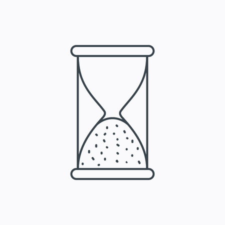 end of time: Hourglass icon. Sand end time sign. Hour ends symbol. Linear outline icon on white background. Vector Illustration