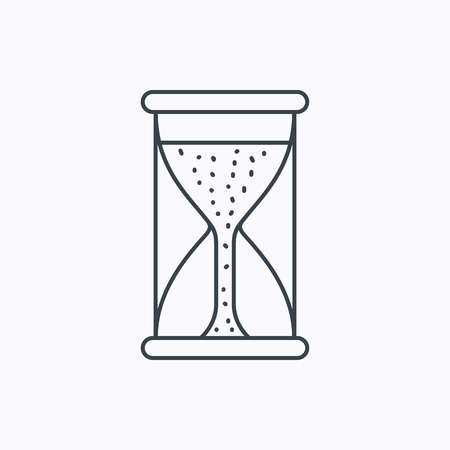 começando: Hourglass icon. Sand time starting sign. Linear outline icon on white background. Vector