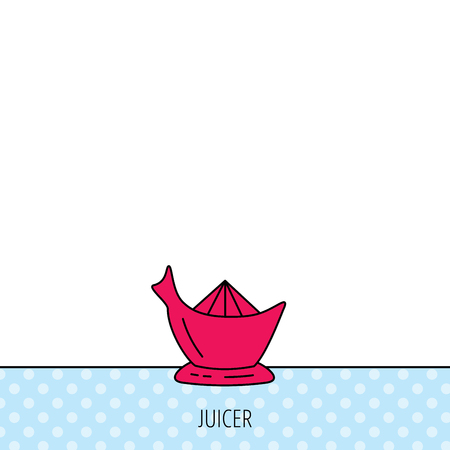 squeezer: Juicer icon. Squeezer sign. Kitchen electric tool symbol. Circles seamless pattern. Background with red icon. Vector Illustration