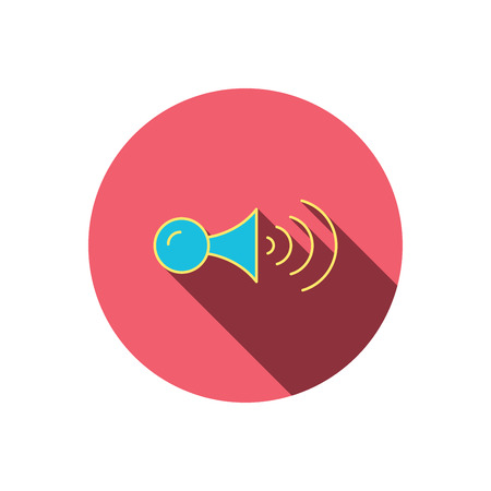 strident: Klaxon signal icon. Car horn sign. Red flat circle button. Linear icon with shadow. Vector