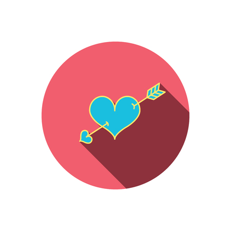 february 1: Love heart icon. Amour arrow sign. Red flat circle button. Linear icon with shadow. Vector