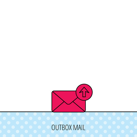 outbox: Mail outbox icon. Email message sign. Upload arrow symbol. Circles seamless pattern. Background with red icon. Vector Illustration
