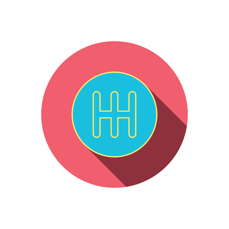 car transmission: Manual gearbox icon. Car transmission sign. Red flat circle button. Linear icon with shadow. Vector Illustration
