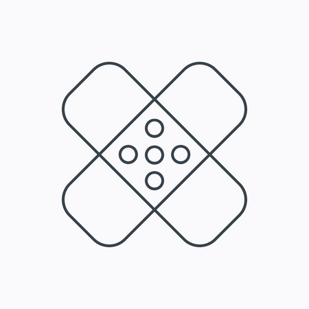maim: Medical plaster icon. Injury fix sign. Linear outline icon on white background. Vector