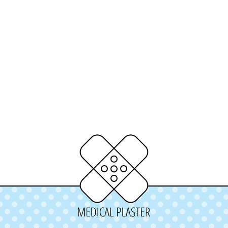 Medical plaster icon. Injury fix sign. Circles seamless pattern. Background with icon. Vector