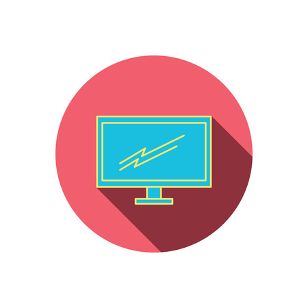 led tv: PC monitor icon. Led TV sign. Widescreen display symbol. Red flat circle button. Linear icon with shadow. Vector