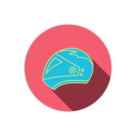 motorradhelm: Motorrad-Helm-Symbol. Biking Sport-Zeichen. Red flachen Kreis-Taste. Linear-Symbol mit Schatten. Vector