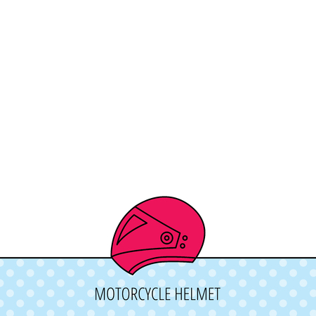 harley: Motorcycle helmet icon. Biking sport sign. Circles seamless pattern. Background with red icon. Vector Illustration