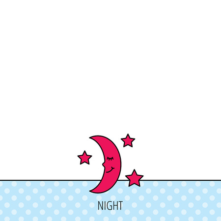 moonbeam: Night or sleep icon. Moon and stars sign. Crescent astronomy symbol. Circles seamless pattern. Background with red icon. Vector