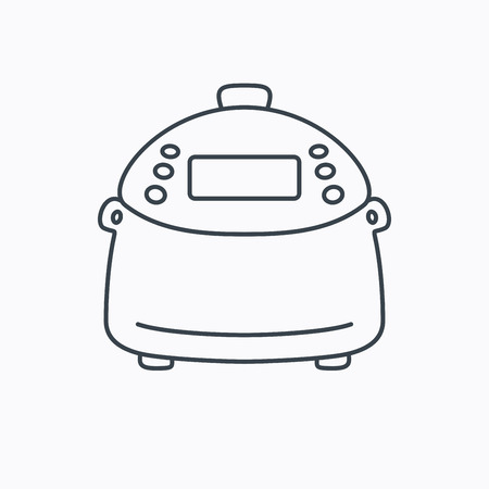 kitchen device: Multicooker icon. Kitchen electric device symbol. Linear outline icon on white background. Vector