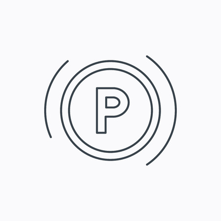 dashboard: Parking icon. Dashboard sign. Driving zone symbol. Linear outline icon on white background. Vector