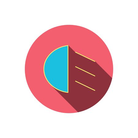 dipped: Passing light icon. Dipped beam sign. Red flat circle button. Linear icon with shadow. Vector Illustration