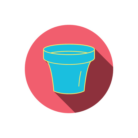 earthenware: Flower pot icon. Gardening ceramic container sign. Red flat circle button. Linear icon with shadow. Vector