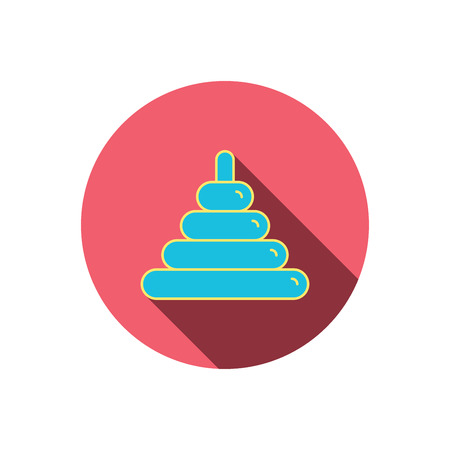 tot: Pyramid baby toy icon. Child tower game sign symbol. Red flat circle button. Linear icon with shadow. Vector