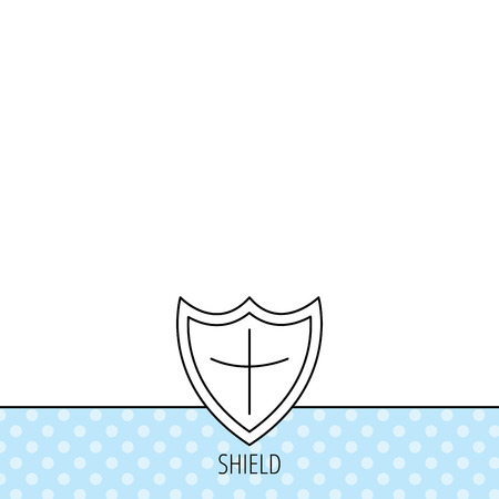 defence: Shield icon. Protection sign. Royal defence symbol. Circles seamless pattern. Background with icon. Vector
