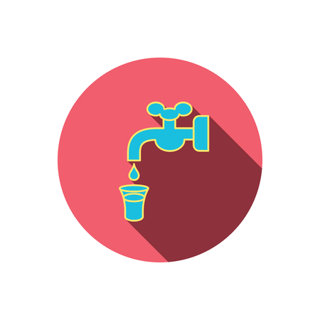 waterworks: Save water icon. Crane or Faucet with drop sign. Red flat circle button. Linear icon with shadow. Vector
