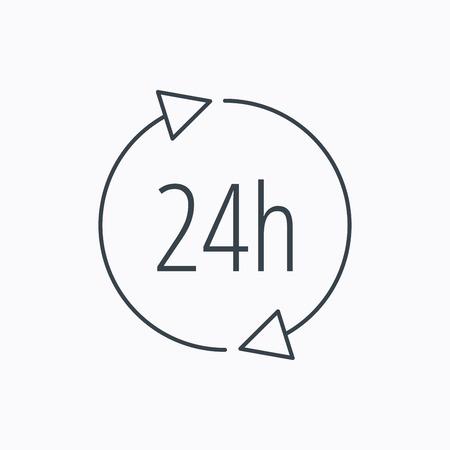 twenty four hours: 24 hours icon. Illustration