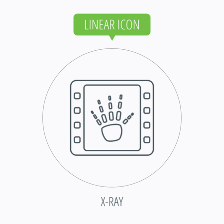radiological: Hand X-ray icon. Human skeleton sign. Linear outline circle button. Vector Illustration