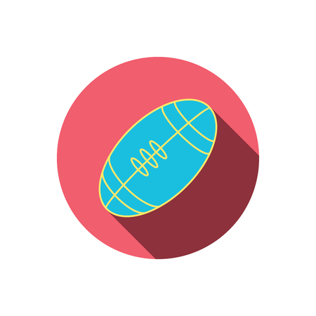 team game: American football icon. Sport ball sign. Team game symbol. Red flat circle button. Linear icon with shadow. Vector Illustration