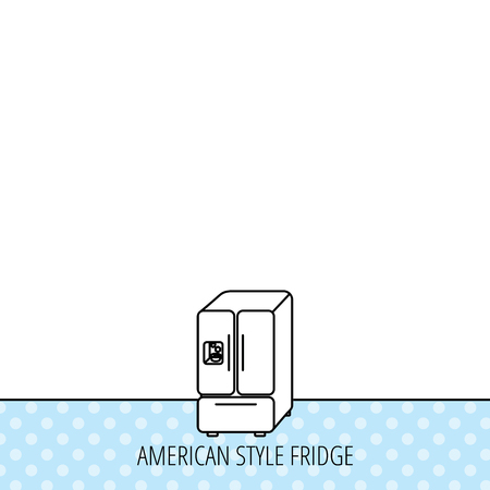 frig: American fridge icon. Refrigerator with ice sign. Circles seamless pattern. Background with icon. Vector