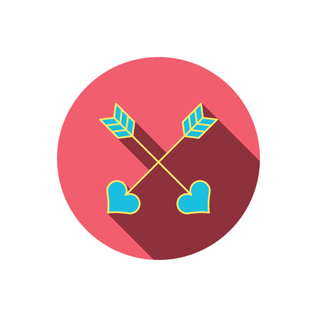 darts flying: Love arrows icon. Amour equipment sign. Archer weapon with hearts symbol. Red flat circle button. Linear icon with shadow. Vector