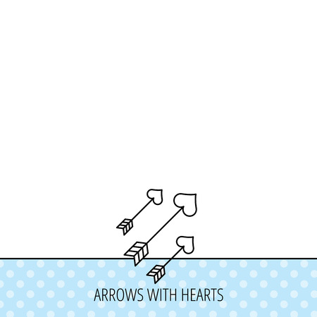 darts flying: Love arrows icon. Amour equipment sign. Archer weapon with hearts symbol. Circles seamless pattern. Background with icon. Vector