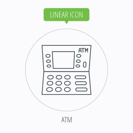 automatic: ATM icon. Automatic cash withdrawal sign. Linear outline circle button. Vector Illustration