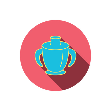 spout: Toddler spout cup icon. Baby mug sign. Flip top feeding bottle symbol. Red flat circle button. Linear icon with shadow. Vector