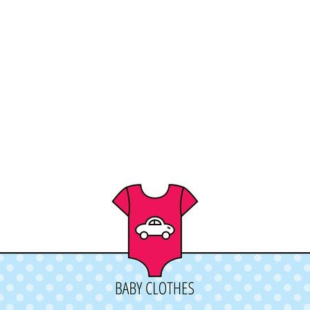 sleeping car: Newborn clothes icon. Baby shirt wear sign. Car symbol. Circles seamless pattern. Background with red icon. Vector Illustration
